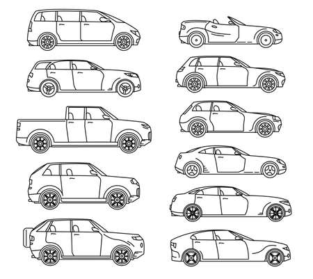 Car body style. Passenger Coupe. Outline Pickup, doodle Sedan Hatchback and Convertible SUV Minivan MPV. Three and five-door auto. Set of Monoline icons for web and mobile UI