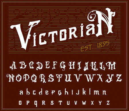 Victorian alphabet in ancient style. Antique old Font for Whiskey label. Vintage typeface in white red colors, editable and layered. Hand drawn Vector modern letters