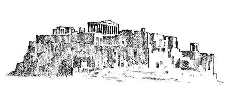 Landscape mountains and buildings in Greece. Ancient antique Greek culture. Double exposure. Hand drawn engraved sketch in vintage style
