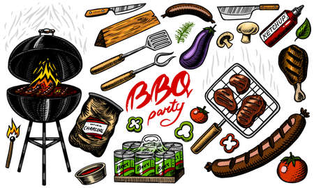 Barbecue grill set in vintage style. Drawn by hand. Bbq party ingredients. Hot grill food, beer and tools, vegetables and spices. Vector illustration for menu or labels.