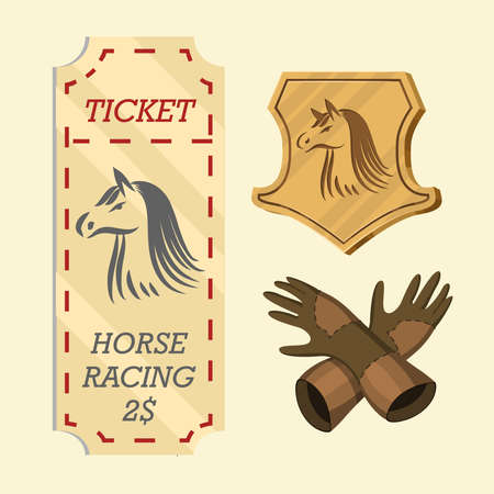 Set of Horseback riding. Racing icons for Activity Jockey club. Equipments for Equestrian Sport poster. Accessories horseshoe, whip, horse saddle, hippodrome, equine bridle for dressage Ilustrace
