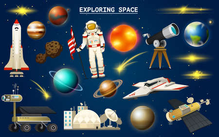 Astronaut in space. Spaceman explores the galaxy. Set of astronomical universe. Planets of the solar system. Cosmonaut explore adventure. Interplanetary travels in the world. telescope Vector Illustration
