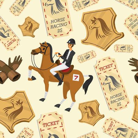 Modello senza cuciture di corse di cavalli. Equitazione. Attività Fantino club. Attrezzature per poster di sport equestri. Accessori ferro di cavallo, frusta, sella cavallo, ippodromo, briglia equina per dressage