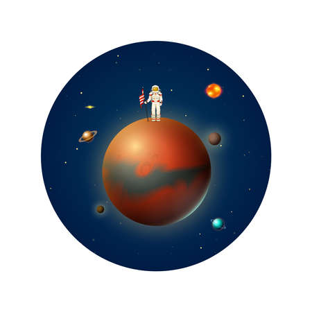 Planets in solar system and astronaut spaceman. Mercury and earth, mars and venus. Astronomical galaxy space background. Poster or banner for web site. Look through the telescope. Cartoon concept.
