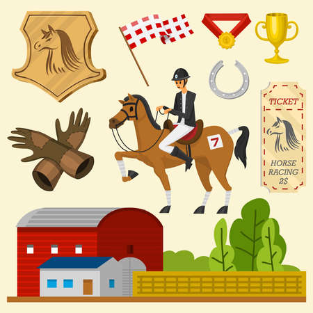 Set of Horseback riding. Racing icons for Activity Jockey club. Equipments for Equestrian Sport poster. Accessories horseshoe, whip, horse saddle, hippodrome, equine bridle for dressage Reklamní fotografie - 132429599
