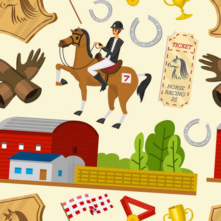 Horse racing seamless pattern. Horseback riding. Activity Jockey club. Equipments for Equestrian Sport poster. Accessories horseshoe, whip, horse saddle, hippodrome, equine bridle for dressage