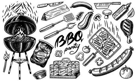 Barbecue set in vintage style. Drawn by hand. Bbq ingredients. Hot grill food, beer and tools, vegetables and spices. Vector illustration for menu or labels. Archivio Fotografico - 132839084