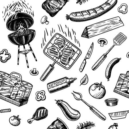 Barbecue grill seamless pattern in vintage style. Drawn by hand. Bbq party ingredients. Hot grill food, beer and tools, vegetables and spices. Vector illustration for menu or labels. Archivio Fotografico - 132839089
