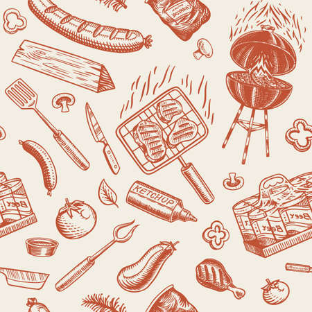 Barbecue grill seamless pattern in vintage style. Drawn by hand. Bbq party ingredients. Hot grill food, beer and tools, vegetables and spices. Vector illustration for menu or labels. Archivio Fotografico - 132839091