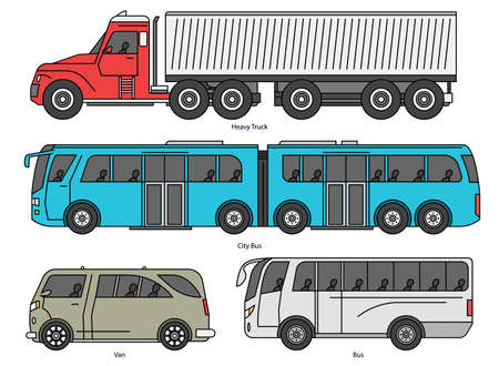 Car body style. Outline Public transport and Passenger Coupe. City bus, color heavy truck, cartoon Van. Three and five-door auto. Set of Monoline doodle icons.