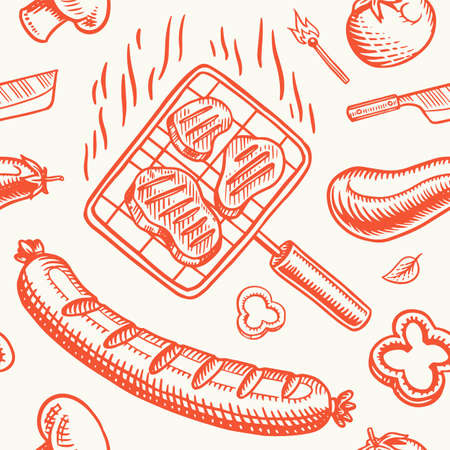 Barbecue grill seamless pattern in vintage style. Drawn by hand. Bbq party ingredients. Hot grill food, beer and tools, vegetables and spices. Vector illustration for menu or labels. Archivio Fotografico - 132839092