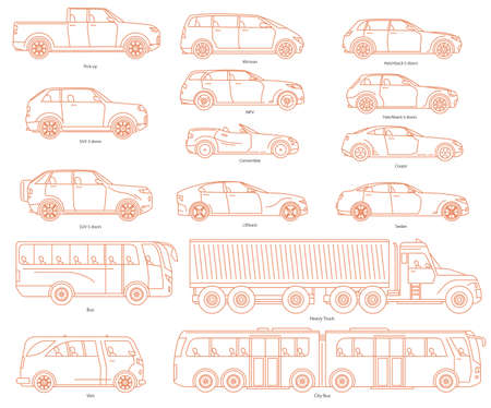 Car body style. Public transport and Passenger Coupe. City bus, heavy truck, Van. Outline Pickup Sedan Hatchback and Convertible SUV Minivan MPV. Three and five-door automobile. Set of Monoline icons. Illustration