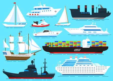 Sea ships background. Set of sailboats and cargo boats sailing on blue water. Transport sailors for world travel. Summer poster or banner for a web site. Vector illustration in cartoon style. Illustration