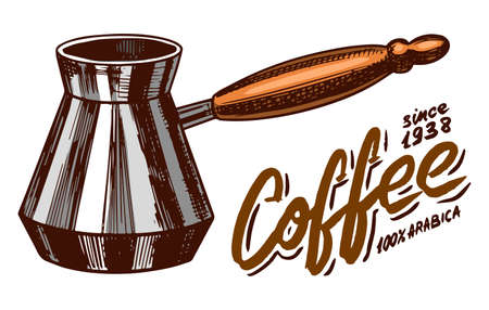 Turk for brewing coffee in vintage style. Hand drawn engraved retro sketch for label or menu.