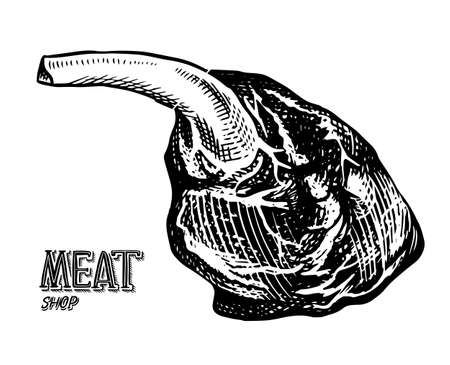Grilled meat, BBQ Pork or beef leg. Barbecue food in vintage style. Template for restaurant menu, emblem or badge. Hand drawn sketch.