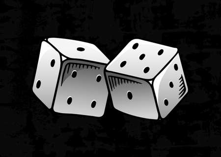 Dice in vintage style. Playing cubes. Hand drawn engraved retro illustration for tattoo, t-shirt or sign in casino