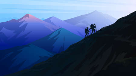 Hiking and camping concept. Silhouette of tourists climbing to the top of the Swiss or Austrian Alps. Dark blue mountains. Amazing Foggy layered landscape. People on the background of nature.