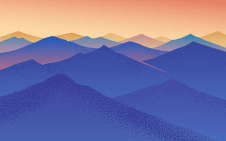 Sunset in the mountains. Layered landscape. Fog in the swiss valley and Austrian Alps. Vector illustration Background for travel banner or poster.