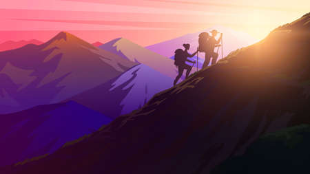 Hiking uphill. Sunrise in the mountains. Foggy layered landscape. Silhouette of tourists climbing to the top of the Swiss or Austrian Alps. Camping and sunset concept. Vector Background for banner.