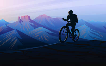 Biking tour downhill. Sunset in the mountains. Foggy layered landscape. Silhouette of a traveler discovering and exploring Swiss valley and Austrian Alps. Vector Background for banner and banner.