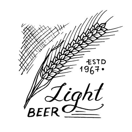 Rye for wheat beer in vintage style. Alcoholic Label with calligraphic elements. Classic American badge for poster banner. Hand drawn engraved sketch lettering for web, pub menu