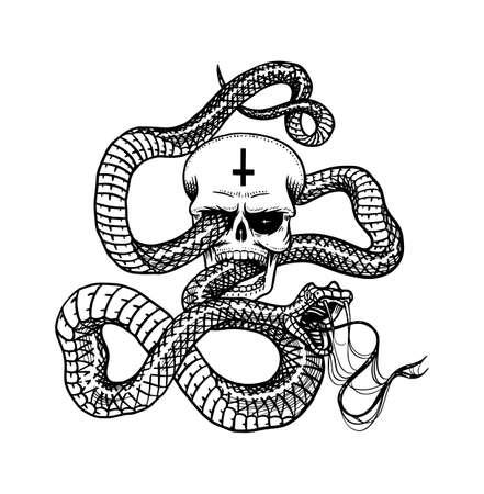 Serpente con teschio in stile Vintage. Serpente cobra o pitone o vipera velenosa. Vecchio schizzo di rettile disegnato a mano inciso per Tattoo. Anaconda per adesivo o logo o magliette. Logo
