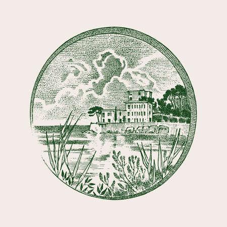 Vintage landscape in Cassis in the Provence-Alpes-Cote dAzur region in Southern France. Engraved hand drawn Vintage sketch for label, Old medallion or tattoo. Design for Wine company bottle