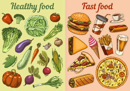 Healthy vs junk food concept. Fruits and Vegetables or fast nutrition. Balanced Diet. Lifestyle concept. Illustration for organic shop or farm market. Hand drawn Ingredients in vintage style. Ilustração