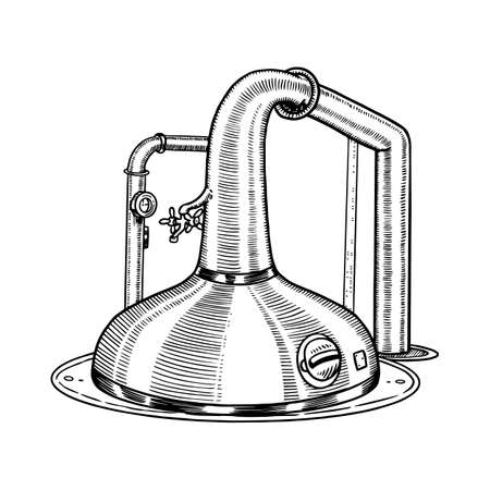 Distillerie d'alambics en cuivre à col de cygne pour la fabrication d'alcool. Croquis rétro vintage gravé à la main pour logo ou étiquette de whisky ou menu d'alcool. Illustration vectorielle. Logo