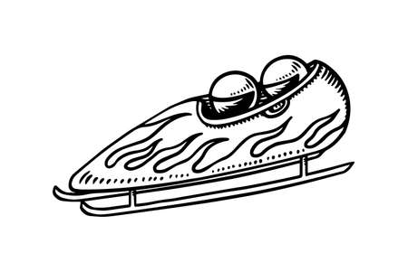 Bobsled winter sport. Gravity powered sleigh. Two athlete riders on a sled. Engraved hand drawn in old doodle vintage sketch. Vector illustration