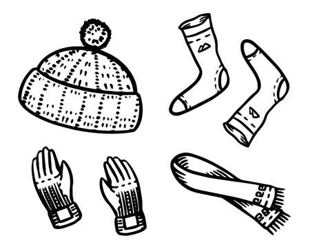 Warm clothes in a doodle vintage style. Winter hat and socks, gloves and a knitted scarf. Engraved hand drawn outline retro sketch for stickers or notebooks.