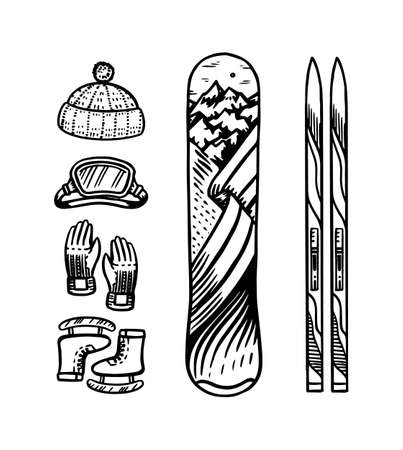 Vintage style snowboard and ski. Winter warm clothes. Elements for active mountain sports. Engraved hand drawn outline retro sketch for stickers or signage, banners or notepads.
