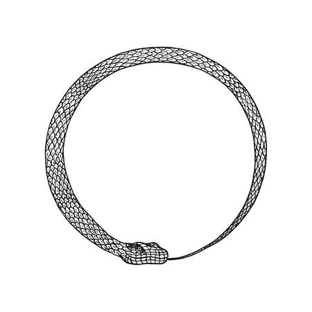 Circle snake in Vintage style. Serpent cobra or python or poisonous viper. Engraved hand drawn old reptile sketch for Tattoo. Anaconda for sticker or logo or t-shirts. Archivio Fotografico - 134647385