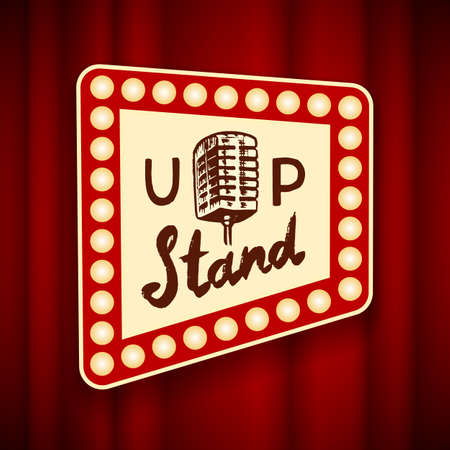 Lettering Stand Up. Calligraphic text comedy show. Engraved hand drawn in old vintage sketch for poster, web badge, label, emblem or logo. Concept on stage. Vector illustration. Logo