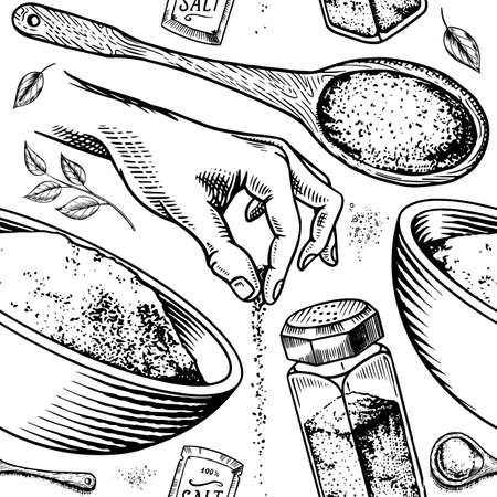 Sea salt seamless pattern. Glass bottles, packaging and and leaves, wooden spoons, powdered powder, spice in the hand. Vintage background poster. Engraved hand drawn sketch. Illustration