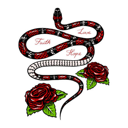 Milk snake with flowers in Vintage style. Serpent cobra or python or poisonous viper. Engraved hand drawn old reptile sketch for Tattoo. Anaconda for sticker or  t-shirts. Archivio Fotografico - 134851720