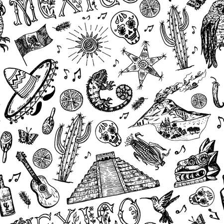 Mexico Seamless pattern in vintage style. Traditional national costume on a woman, animals, plants and musical instruments. Engraved hand drawn sketch