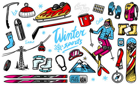 Winter sports season. Vintage Snowboarding and skiing, jumping athlete, mountain cableway, funicular or ropeway, skates, warm clothes for outdoor activities. Hand drawn vector background Doodle style.