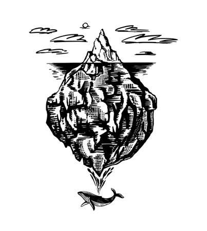 Iceberg in the ocean. A large piece of a mountain glacier floating in northern water. Engraved hand drawn vintage sketch for emblem, web, banner or t-shirt. Isolated illustration.