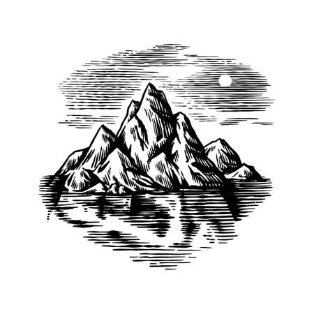 Iceberg in the ocean. A large piece of glacier floating in northern water. Engraved hand drawn vintage sketch for emblem, web, banner or t-shirt. Isolated illustration on a white background.