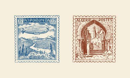 Vintage Postage stamp for album. Ancient landscapes. Retro old Sketch. Monochrome Postcard sticker. Hand drawn engraved retro mark, travel label. Decoration Element for print banner, poster 矢量图像