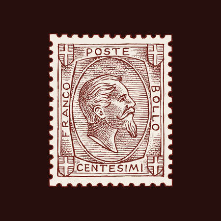 Vintage Postage stamp for album. Face of a man with a beard. Retro old Sketch. Monochrome Postcard sticker. Hand drawn engraved retro mark, travel label. Decoration Element for print banner