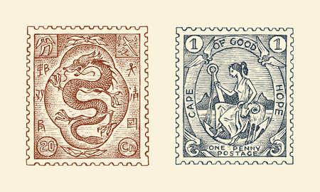 Vintage Postage stamp for album. Red japanese dragon. Retro old Sketch. Monochrome Postcard sticker. Hand drawn engraved retro mark, travel label. Decoration Element for print banner
