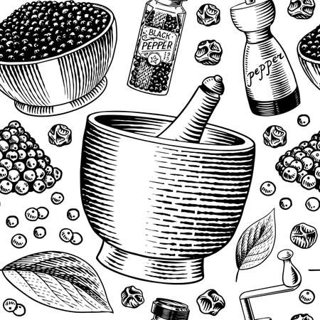 Black pepper seamless pattern in Vintage style. Mortar and pestle, Allspice or peppercorn, Mill and dried seeds. Herbal seasoning background. Engraved hand drawn vector sketch for poster and print.