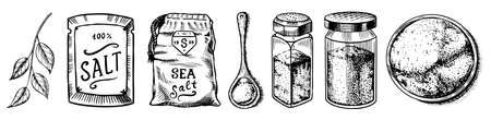 Sea salt set. Glass bottles, packaging and and leaves, wooden spoons, powdered powder, spice in the hand. Vintage background poster. Engraved hand drawn sketch