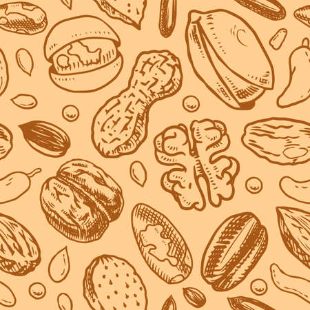 Nuts seamless pattern. Seeds and granule, corn and grain. Hazelnut, Walnut, Almonds. Food concept. Top view background. Vintage poster. Engraved hand drawn sketch in Monochrome style.