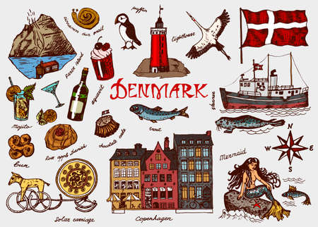 Symbols of Denmark in vintage style. Retro sketch with traditional signs. Scandinavian culture, national entertainment in European country. Homes, drinks, mermaid and ship, animals and sea creatures