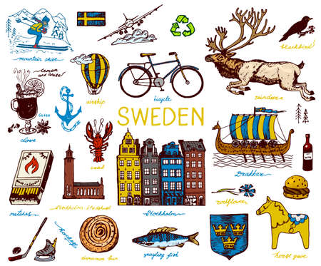 Symbols of Sweden in vintage style. Retro sketch with traditional signs. Scandinavian culture, national entertainment in European country. Ecology and processing, bicycle and animals, winter and cold.