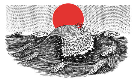 Atlantic tidal waves. Vintage storm. Japanese landscape towards red sunset on the horizon. Hand drawn label. Marine and sea, ocean background for banner or poster. Isolated vector illustration.
