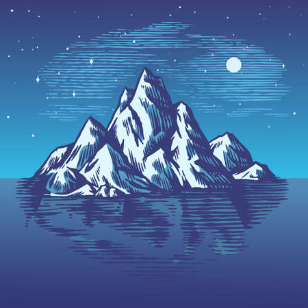 Iceberg in the ocean. A large piece of glacier floating in northern water. Engraved hand drawn vintage sketch for emblem, web, t-shirt. Isolated illustration for Poster, banner or cards. Ilustracje wektorowe